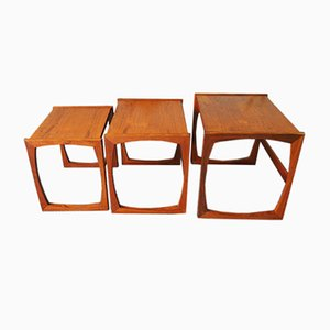 Mid-Century Nesting Tables with Sleigh Legs for G-Plan