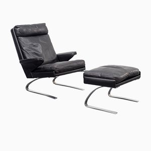 Swing Leather Armchair with Footstool by Reinhold Adolf for Cor, 1960s