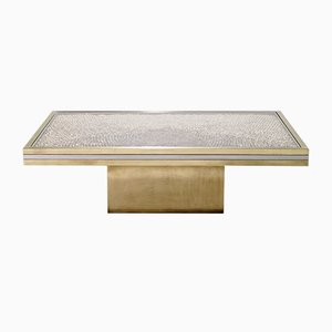 Chrome & Brass Coffee Table by Romeo Rega for Metalarte, 1970s