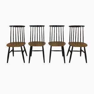 Vintage Fanett Spindle Back Chairs by Ilmari Tapiovaara for Edsby Verken, Set of 4