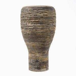 Graue Anni S Zypressen Holz Vase von Massimo Barbierato für Hands on Design