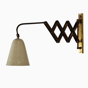 Wall Lamp in Lacquered Aluminium & Brass, 1950s
