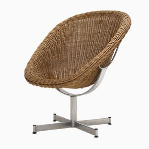 Rattan Swivel Lounge Chair by Dirk van Sliedregt for Gebr. Jonker, 1960s