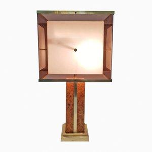 Vintage Burl & Brass Table Lamp