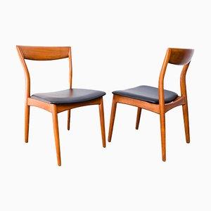 Dänische Teak & Leder Stühle, 1960er, 6er Set