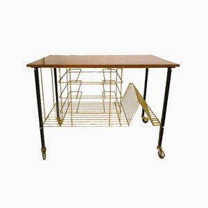 Serving Cart with Teak Tabletop & Gold Metal Storage Racks, 1960s