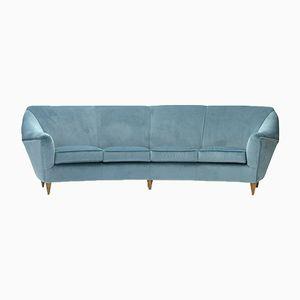 Italian Four-Seater Sofa in Azure Velvet, 1950s