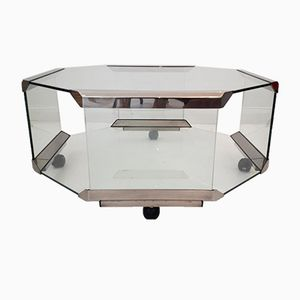 Achteckiger Glas & Stahl Couchtisch auf Rädern von Galotti & Radice, 1980er