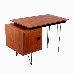 Dutch Teak Veneered Desk with Hairpin Legs from Tijsseling Nijkerk, 1950s