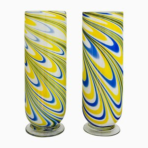 Italienische Vintage Murano Glas Vasen, 2er Set