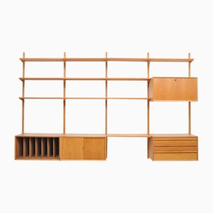 Vintage Oak Wall Unit with Record Shelf by Paul Cadovius for Cado