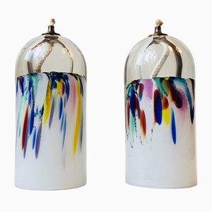 Dänische Glas Öllampen von Holmegaard, 1970er, 2er Set