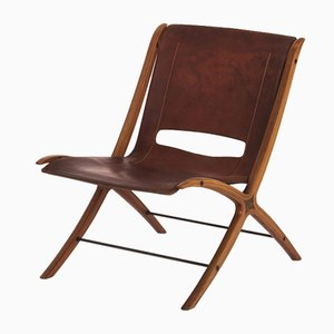 Model X Cognac Leather Chair by Peter Hvidt & Orla Mølgaard-Nielsen for Fritz Hansen, 1950s