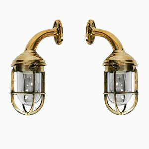 Large Mid-Century Ship Sconces in Cast Brass, Set of 2