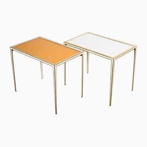 Messing & Spiegelglas Beistelltische von Vereinigte Werkstätten, 1960er, 2er Set