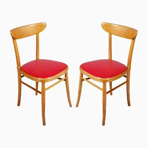 Italian Modernist Side Chairs, 1950s, Set of 2