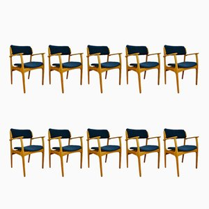 Mid-Century Danish Model 49 Chairs by Erik Buch for O.D. Møbler, 1960s, Set of 10