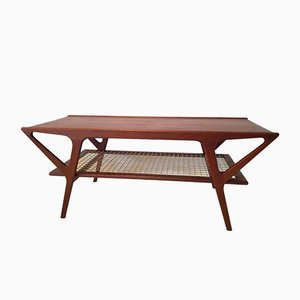 Teak Coffee Table with Compass Legs, 1960s