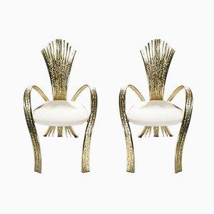 Französische Bronze Stühle von Jacques Duval-Messingeur, 1970er, 2er Set