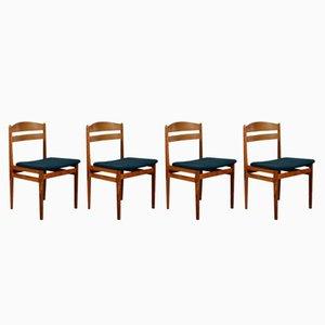 Mid-Century Teak Esszimmerstühle, 4er Set