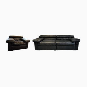 Model Erasmo Leather Sofa & Lounge Chair by Tobia & Afra Scarpa for B&B Italia, 1980s