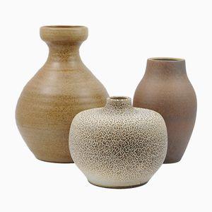 Vases Mid-Century en Céramique Marron Vernie, Set de 3