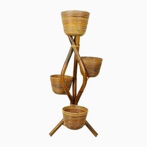 Mid-Century French Rattan Flower Stand, 1950s