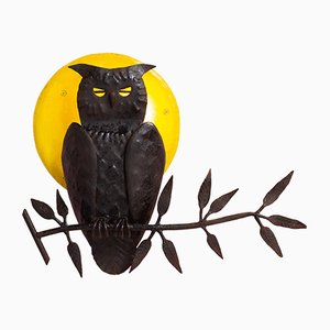 Brutalist Iron Owl & Moon Wall Light, 1950s