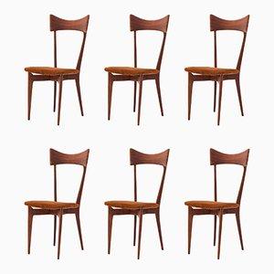 Italienische Leder und Mahagoni Esszimmerstühle von Ico & Luisa Parisi, 1950er, 6er Set
