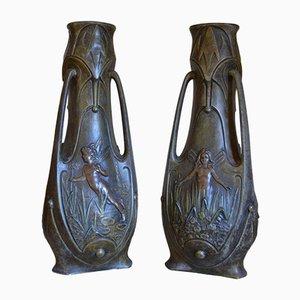 Jugendstil Vasen von Jean Garnier, 1898, 2er Set