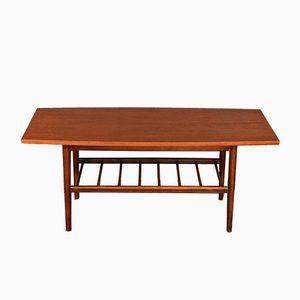 Mid-Century Teak Two-Tiered Slatted Coffee Table