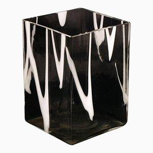 Transparent & White Murano Glass Vase from Venini, 1950s