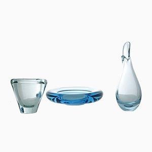 Vintage Glas Akva Aschenbecher, Duckling Vase & Umanak Vase von Per Lütken für Holmegaard