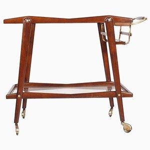 Mid-Century Modern Walnut Crystal & Gilt Brass Bar Cart by Cesare Lacca
