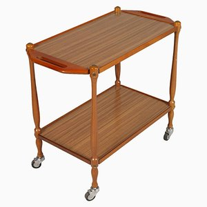Mid-Century Modern Italian Bar Cart in Beech and Formica, 1950s