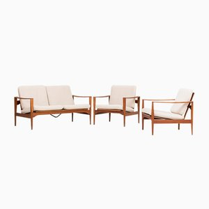 Model EK 2-Seater Sofa and 2 Lounge Chairs by Illum Wikkelso for Niels Eilersen, 1960s