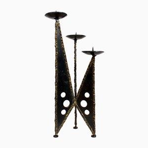 Brutalistischer Eisen Kerzenständer, 1960er