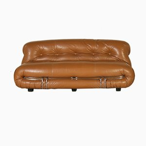 Soriana Sofa in Leather & Chromed Metal by Tobia & Afra Scarpa for Cassina, 1970s