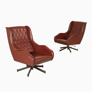 Italian Leatherette & Metal Swivel Lounge Chairs, 1960s, Set of 2