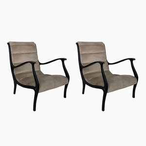 Italian Velvet Mitzi Lounge Chairs by Ezio Longhi for Elam, 1950s, Set of 2