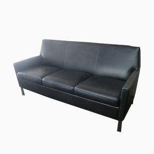 Mid-Century Danish Leather Sofa with Brushed Steel Legs