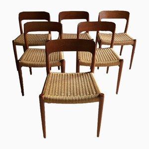 Modell No. 75 Esszimmerstühle von N.O. Møller für JL Møllers Møbelfabrik, 1970er, 6er Set