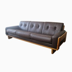 Danish Leather Sofa with Oak Frame, 1970s