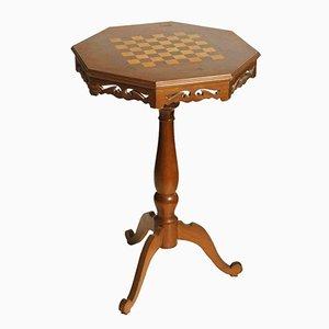 Kleiner Mid-Century Schach Spieltisch in Walnuss