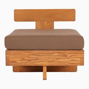 Moderner Beistellstuhl aus massivem Eichenholz, 1960er