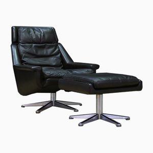 Dänischer Vintage Leder Sessel & Fußhocker von ESA