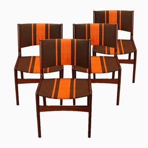 Teak Stühle mit orange gestreiftem Bezug, 1960er, 4er Set