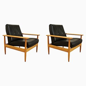 Black Leather Lounge Chairs, 1950s, Set of 2