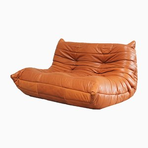 Togo Sofa in Cognac Leather by Michel Ducaroy for Ligne Roset, 1980s