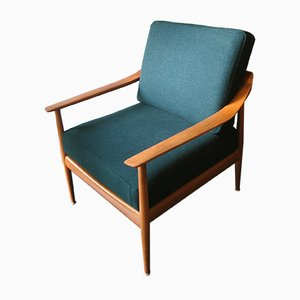 Mid-Century Danish Teak Sea-Green Lounge Chair, 1960s